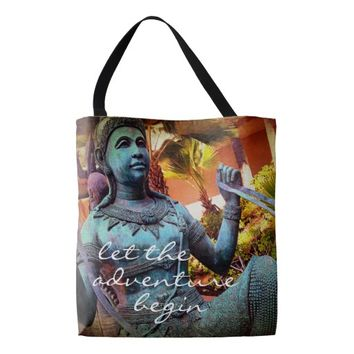Adventure turquoise warrior statue photo tote bag