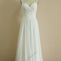 Chiffon Wedding Dress/Bridesmaid dress/Prom Dress Beaded Cap Sleeves Dress