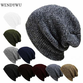 WENDYWU new winter casual hip hop hat men's men's knitwear Toucas Bonnet hat men's lady crochet ski cap warm Skullies Gorros
