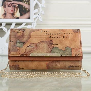 Tagre™ Louis Vuitton Retro Fashion Map Wallet Metal Chain Single Shoulder Messenger Bag Women Double Layer Flip Clutch Purse