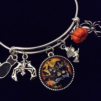 Halloween Black Cat Bat Witch Spider Adjustable Bracelet Silver Expandable Charm Bangle Halloween Costume Hostess Gift Trendy Stackable Wire Bracelet