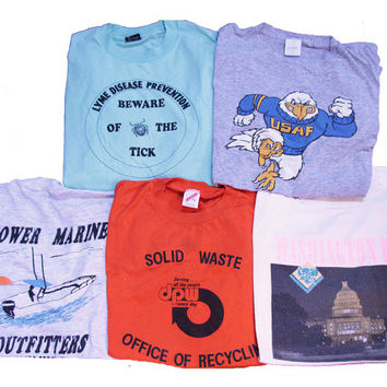 5 Vintage T-shirts Size XL Distressed Lot of 80's Shirts