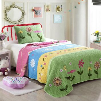 CHAUSUB Kids Bedspread Quilt Set 2pc Coverlets Cotton Child Handmade Applique Quilts Bed Sheets Flowers Twin Size Bedding