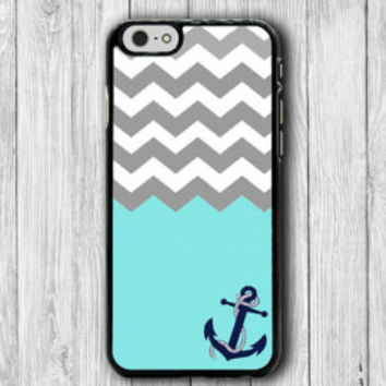 Grey Geometric Chevron Anchor Mint iPhone 6 Case iPhone 6 Plus Phone Cove iPhone 5 5S iPhone 4 4S Plastic Rubber Eco Friendly Case Christmas