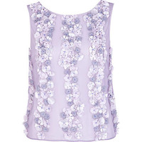 Light purple 3D flower embellished top - sleeveless tops - tops - women