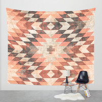 native coral diamond Wall Tapestry by Holli Zollinger