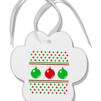 Ugly Christmas Sweater Ornaments Paw Print Shaped Ornament