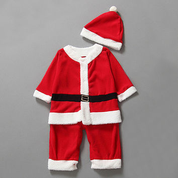 Baby Kid Boys Romper + Hat Cute Santa Clothing Set Cute Christmas Costume Outfit