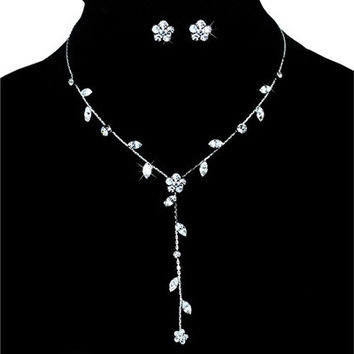 Bridesmaid Wedding Flower Rhinestone Necklace Set [7981372999]