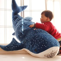 New Cute Large 50cm Whale Shark Plush Toy Cartoon  Doll Soft Stuffed Animals Cushion Child Pillow 3 Colors Kids Toy Gifts