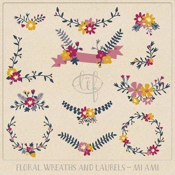 cyber monday sale Floral Clip Art Flower Wreaths and Laurels and a Banner.Hand drawn flowers for creating cards invitations wedding themes