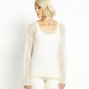 Eileen Fisher Petite Mohair-Blend Open-Weave Sweater - Soft White