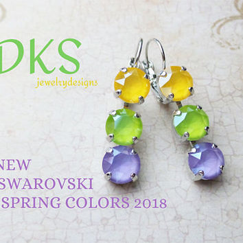 New, Swarovski 8mm Triple Lever Back Earrings, Pastel Multi, Drops, Dangles, Spring, Easter, Bridal, Lilac, DKSJewelrydesigns, FREE SHIPPING