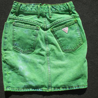 Vintage Upcycled Denim Guess Skirt, Size Small 27. Dyed GREEN exclamation point