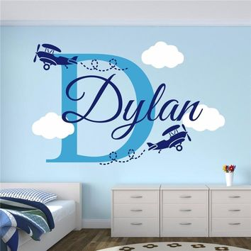 Custom Airplane with clouds wall decal