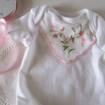 Baby Girl Gift Newborn Onesuit Accented with Vintage Handkerchief in Pink Rosebuds