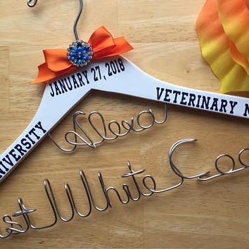 Personalized 2 tier with Name Hanger,Doctor, Physician Assistant,1st White Coat Hanger, 1st White Coat Ceremony Gift for any Medical Student