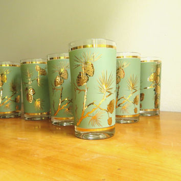 Vintage Libbey Pine Cone Glasses Mid Century Glasses Set of Six Bar Ware Glassware Gold Green