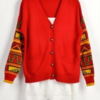Vintage Style Cardigan with Tribe Pattern Sleeves Red