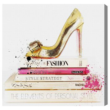 Gold Shoe and Fashion Books Canvas