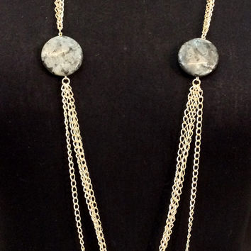 Statement long necklace with gray black marbled flat beads and silver plated chains