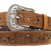 Ariat Women's Paisley Scroll Design Cutout Leather Belt
