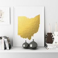 Ohio Goil Foil Map Printable Art State Poster Ohio Gift Ohio Wall Art Ohio Poster State Gold Foil Map Gold Foil Poster Instant Download