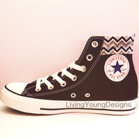 Chevron Converse High Top Sneakers Cutom Chuck Taylors