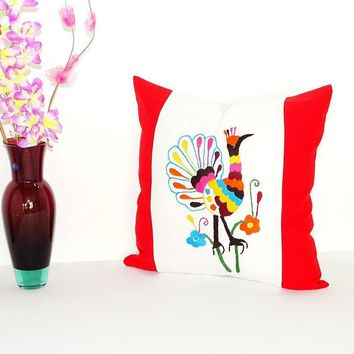Bohemian Pillows, Otomi cushion cover, Mexican pillow cover in white and Red