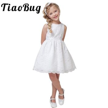 TiaoBug Floral Lace Wedding Party Dresses Kids Girls Sleeveless Bow Belt Princess Feast Dress First Communion Dresses For Girls