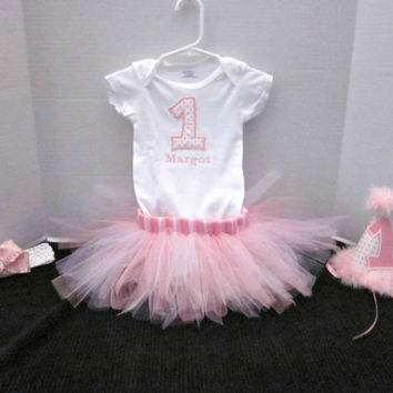 Baby Girls 1st Birthday Outfit, Girls Birthday Shirt, 1st Birthday, Cake Smash Outfit, Pink Birthday Tutu Outfit By Sweetpeas Bows & More