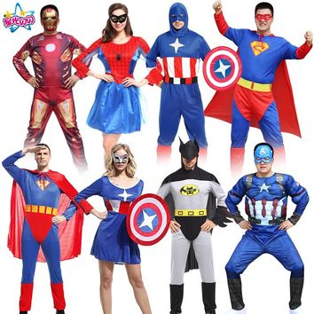Free shipping NoEnName cosply costume adult spider batman superman captain America clothes iron man suit avengers alliance