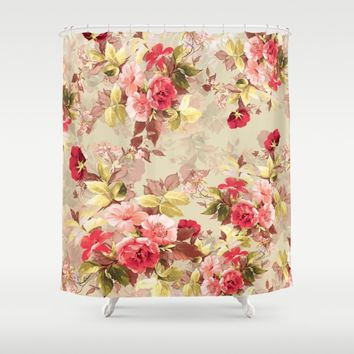 RED ROSE Shower Curtain by RIZA PEKER