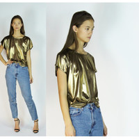 70s Metallic Top Gold Shirt Short Sleeve Disco Slouchy Tee Lame Medium
