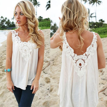 Women V Back Floral Cutwork Vest Top Sleeveless Blouse Casual Tank Top