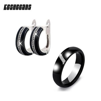New Ceramic Jewelry Sets Cubic Zircon Earrings Ring Set Black White Chinese Porcelain Healthy Material Fashion Jewelry For Women