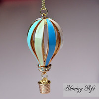 Hot Air Balloon Necklace, Pendant of color Hot Air Balloon on Gold Chain