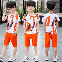 Baby Boy Summer Clothes Set For Toddler Kids Clothing Cartoon Printed Short Sleeve T-shirt + Pants Boy Suit 4 6 8 10 12 13 Years