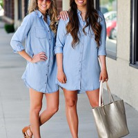 * Lets Go To Greece Tunic Dress: Denim