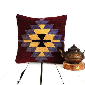 kilim pillow,home decor,rustic decor,kilim pillow cover,kilim rug, vintage,handwoven pillow,throw pillow,accent pillowdecorative pillow16x16