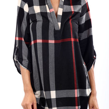 Black V-Neck 3/4 Sleeve Large Plaid Top *MADE IN USA*