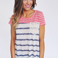 Coral/White/Navy Fine Knit Top
