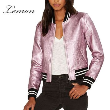 Lemon Autumn Women Side Pocket Casual Shaping Zipper Coat Solid Pink Metallic Contrast PU Bomber Jacket Slim Street Style Jacket