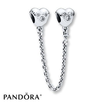 PANDORA Safety Chain Disney, Heart of Mickey Sterling Silver