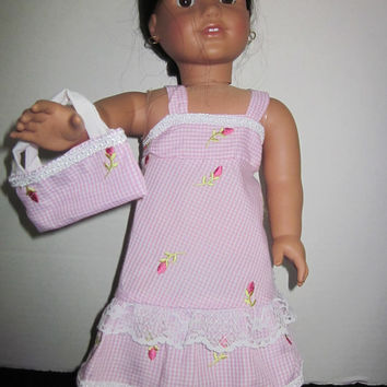 American Girl Doll Dress Pink Gingham By Sweetpeas Bows & More