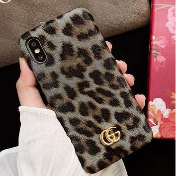 GUCCI New fashion leopard couple protective cover phone case