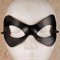HARLEY QUINN Mask in Black. Designed & Hand Crafted in Wales. Leather Harley Quinn Mask.