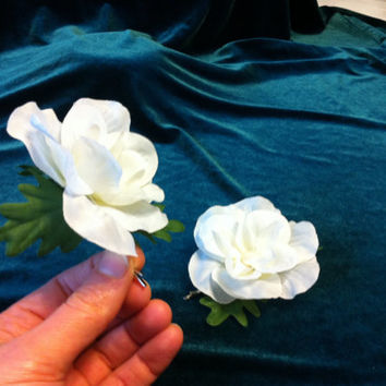 Pair of White Rose Hairpins. Silk flower hair clips.  Bridal headpiece. Fairy wreathcrown. Fascinator.