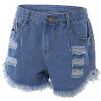 Frayed Raw Hem Asymmetrical Shorts