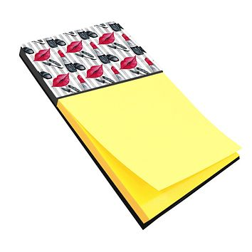 Watercolor Lipstick and Grey Stripes Sticky Note Holder BB7512SN